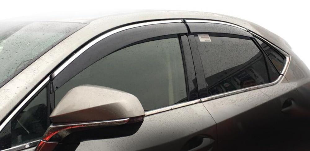 RKAC CUSTOM FIT FOR 2018 NEW! 4pcs Window Visor Deflector Rain Guard For Lexus NX NX200t NX300h 2015 2016 2017 Stickers chromed abs plastic factory style 4pcs side door molding trim for lexus nx200t nx300h 2015 2016