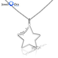 DIY Name 3 Color Hollow Star Personalized 925 Sterling Silver Name Necklace Best Christmas Gift With