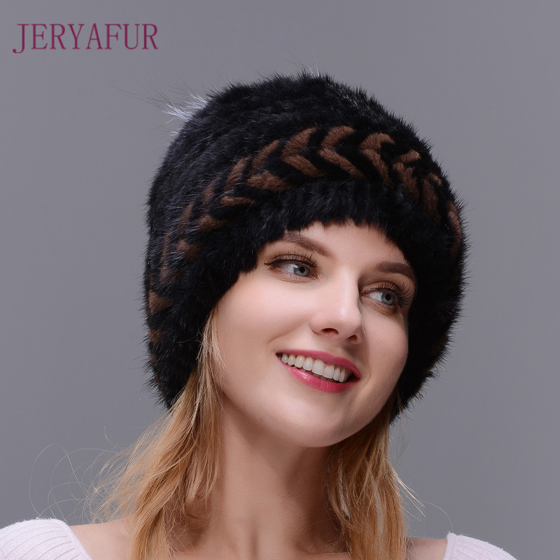 New Style Winter Ear Warm Fur Hat For Women Spiral-weave Knitting Cap Real Natural Mink Fur Cap,Top Opening With Fox Fur Around