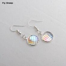 ФОТО hot dangle earrings for women jewelry fashion resin fish scale stone dangle pendant earrings simple handcraft gift