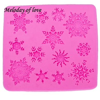 3D christmas decorations snowflake Lace chocolate Party DIY fondant baking cooking cake decorating tools silicone mold T0026 1