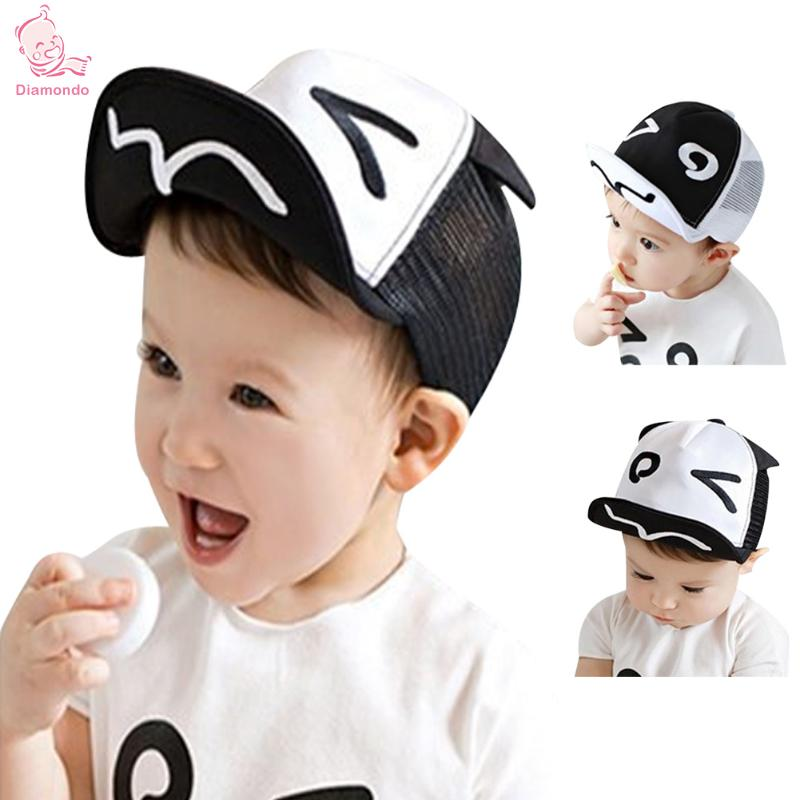 1pc Summer Kids Hats For Chidren Infant Baby Caps Beret Cute Cartoon Baby Boy Baseball Hat Black White Hats For Boy For 1-3Y