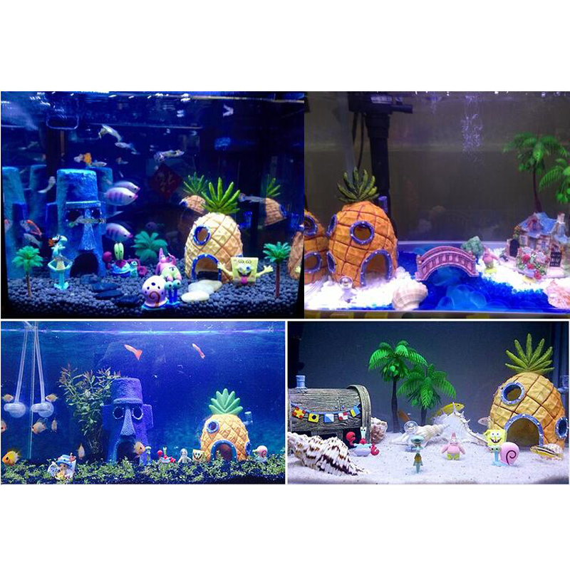 Cartoon Aquarium Ornament Animation Sponge Bob Patrick Star Fish Tank House Decor Fish Hiding Cave Acuario Decoration Background