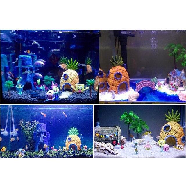 Small Aquarium SpongeBob Decoration Pineapple House Squidward Easter Island Fish Tank Cartoon Decoration for Kids