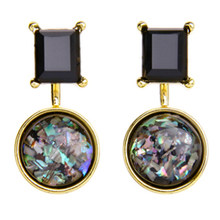 New Arrival Multicolor Geometric Semi-precious Stone Stud Earrings Women Vintage Brincos Earrings Bijoux Jewelry Gift E5240(China)