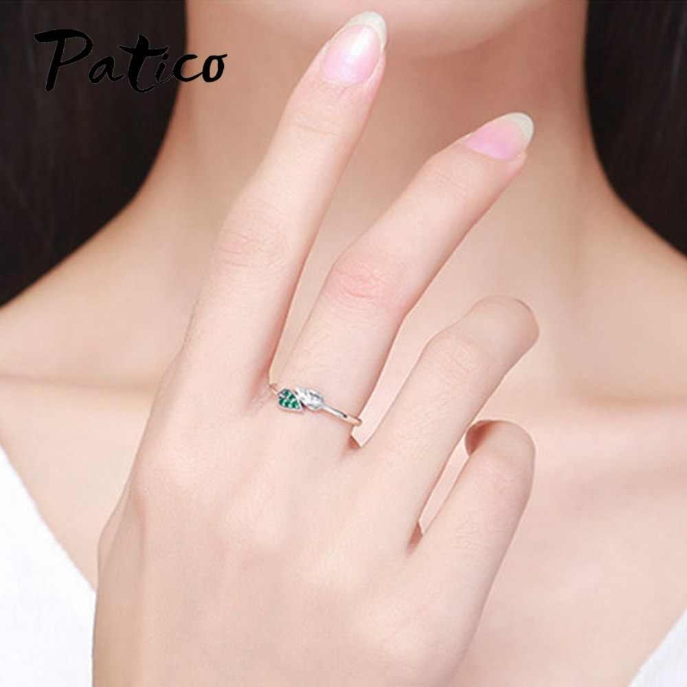 Thời Trang Ngắn Xanh Lá Bạc 925 Nữ Nhẫn Cưới Hàng Ngày Trang Sức Quà Tặng Sinh Nhật CZ Cubic Zircon Knuckle Nhẫn