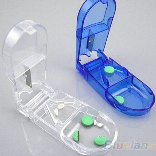 Folding pill case Metal pill cutter Medicine Organizer Portable Pill Box Storage Container Holder Tablet Cutter Splitter все цены