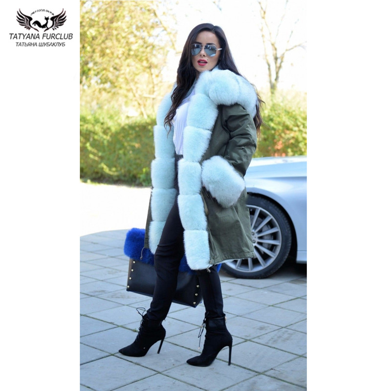 Tatyana Furclub veste de fourrure véritable femmes manteau de fourrure véritable hiver Parkas chauds épais avec 100% réel col de fourrure mode vestes de luxe-in Réel De Fourrure from Mode Femme et Accessoires    1