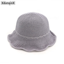 XdanqinX Elegant Lady Straw Hat Foldable Womens Breathable Bucket Hats Fashion Multipurpose Retro Female Summer Multicolor