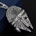 Star Wars Necklace Pendants Movie Jewelry Millennium Falcon Darth Vader 3D for Fans Souvenirs Men Women Film Lovers Hot Collar