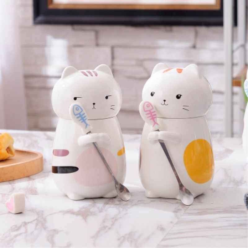 3D Ceramic Cartoon Cat Mugs Cute Kitten Cups Large Capacity Mug Children Breakfast Milk Coffee Cup For Kids Gift