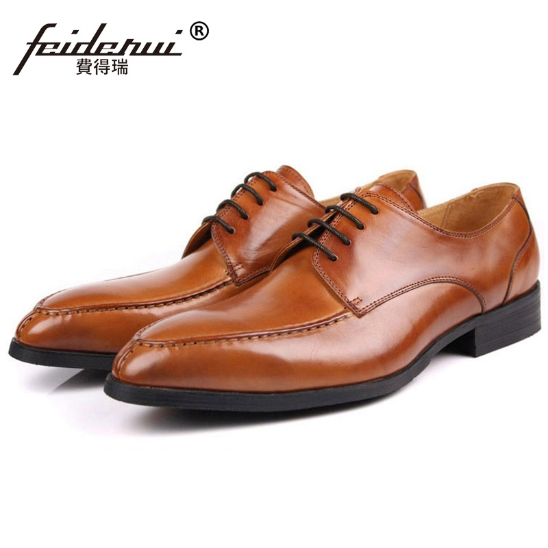 Elegant Round Toe Formal Man Dress Shoes Genuine Leather Derby Office Oxfords Luxury Brand Men's Wedding Bridal Footwear ME91 mycolen mens shoes round toe dress glossy wedding shoes patent leather luxury brand oxfords shoes black business footwear