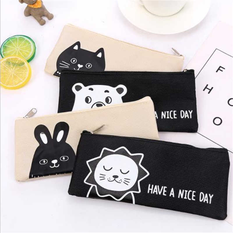 1 Pcs Cartoon Animal Canvas Pencil Bags Kawaii Stationery Storage Bag Office School Supplies Zipper Pencil Cases for Girls Boys