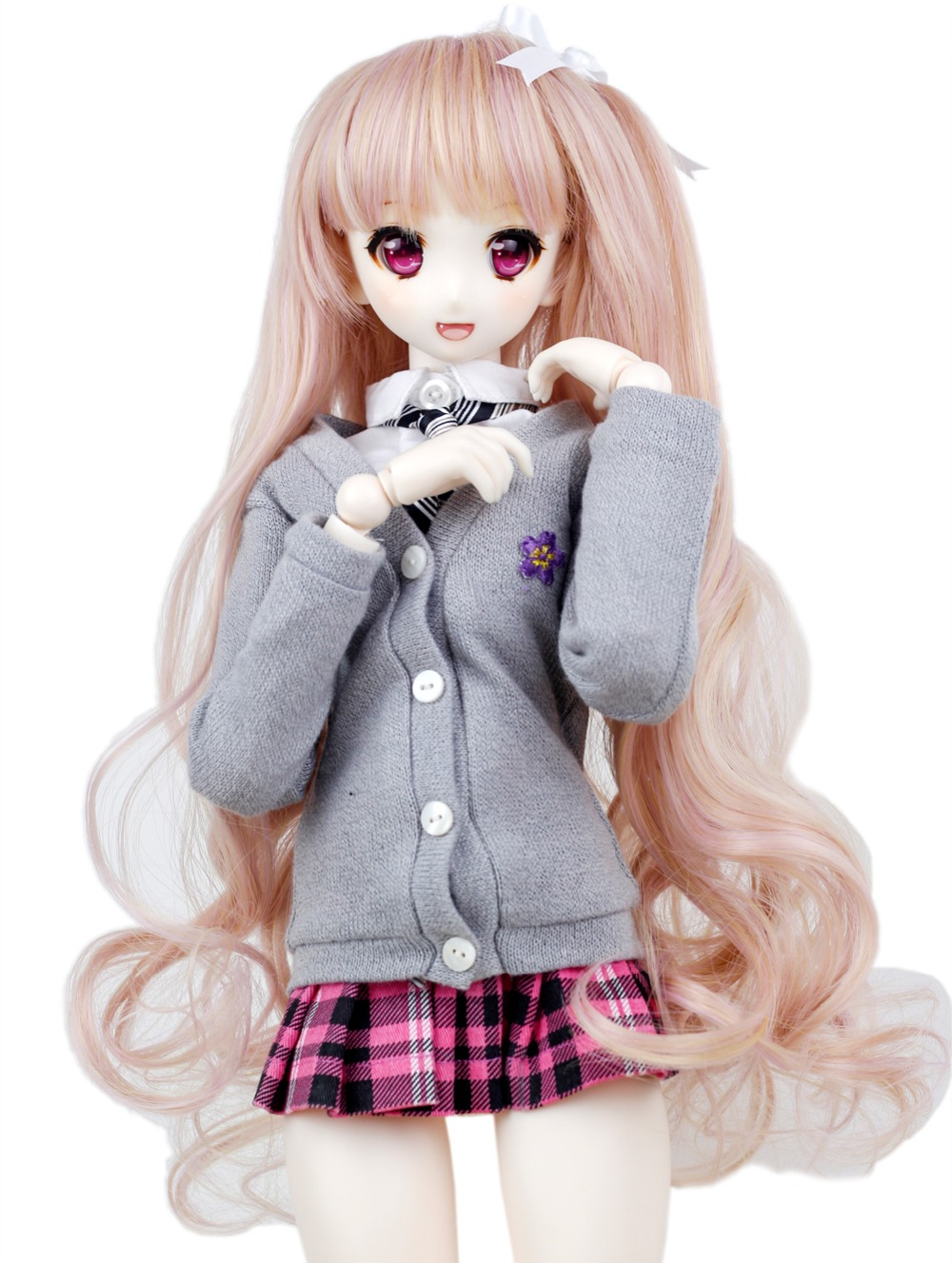 1/3 BJD Wig Pullip Dal DD SD LUT Dollfie Doll Wig High Temperature Hair 8-9 inch Long Pink Wave Wig ...