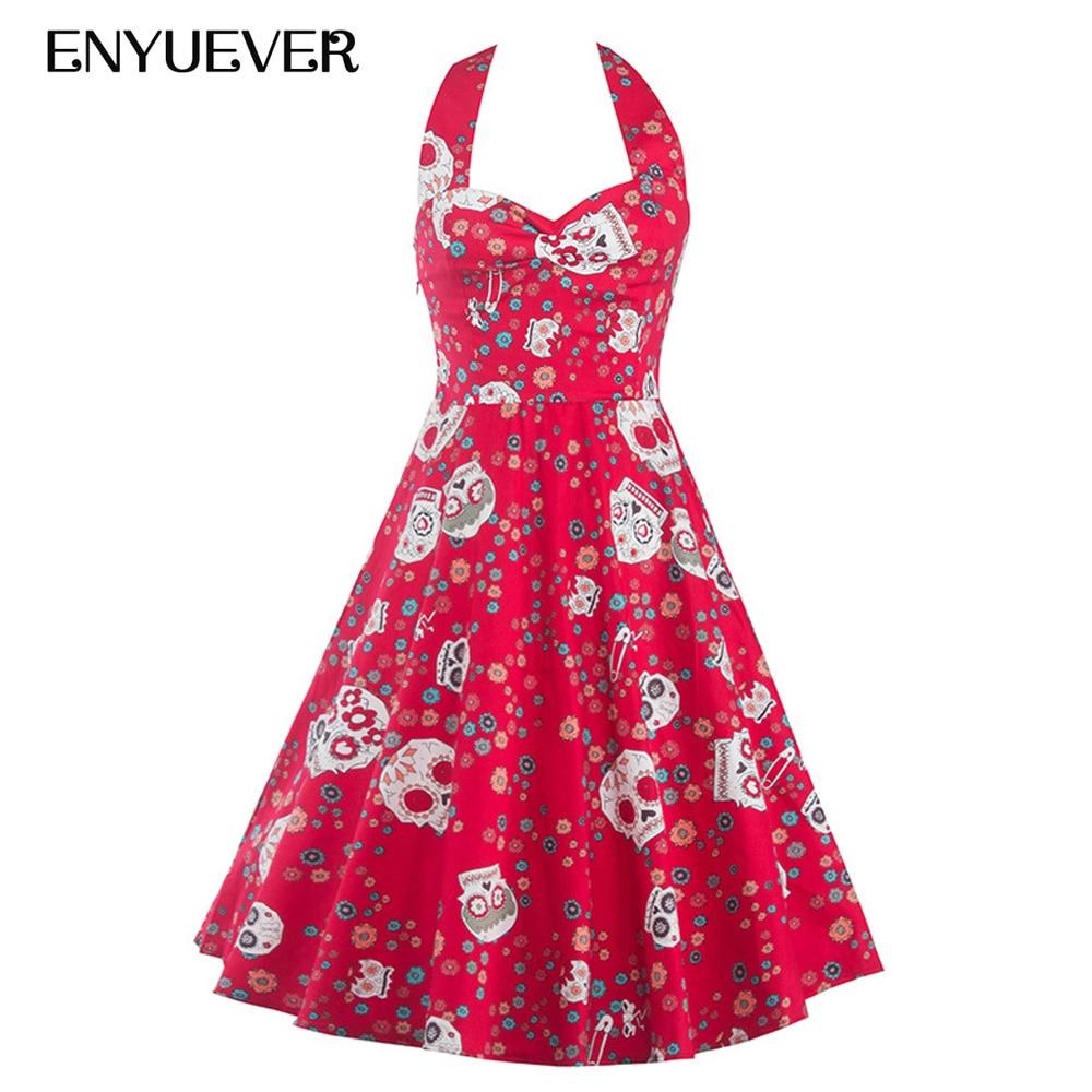 Enyuever Plus Size Vintage Dress Halter Floral Skull Print Gothic Swing Tank Pin Up Vestido 50s Rockabilly Party Halloween Dress