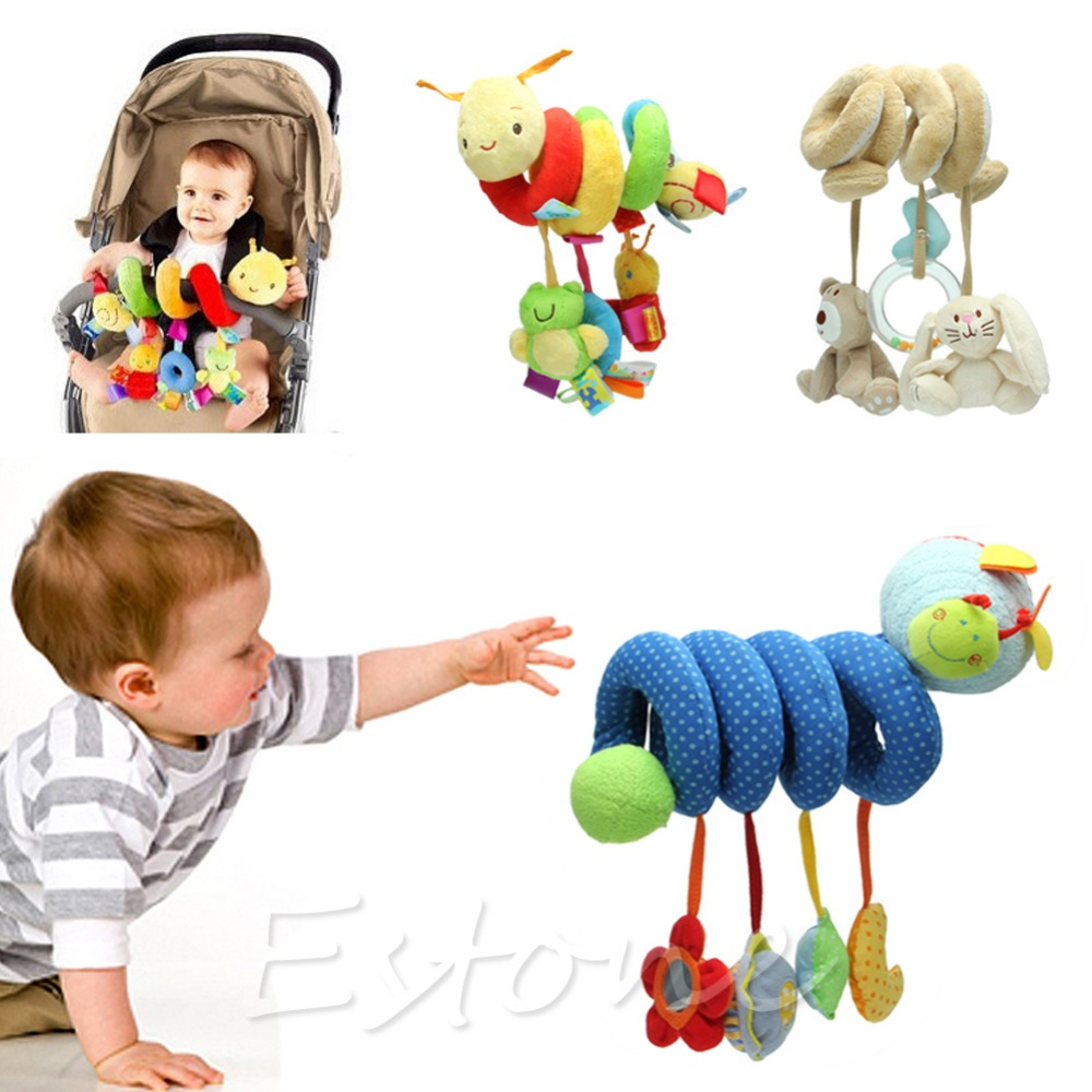 New Activity Spiral Stroller Car Seat Travel Lathe Hanging Toys Baby Rattles 6T
