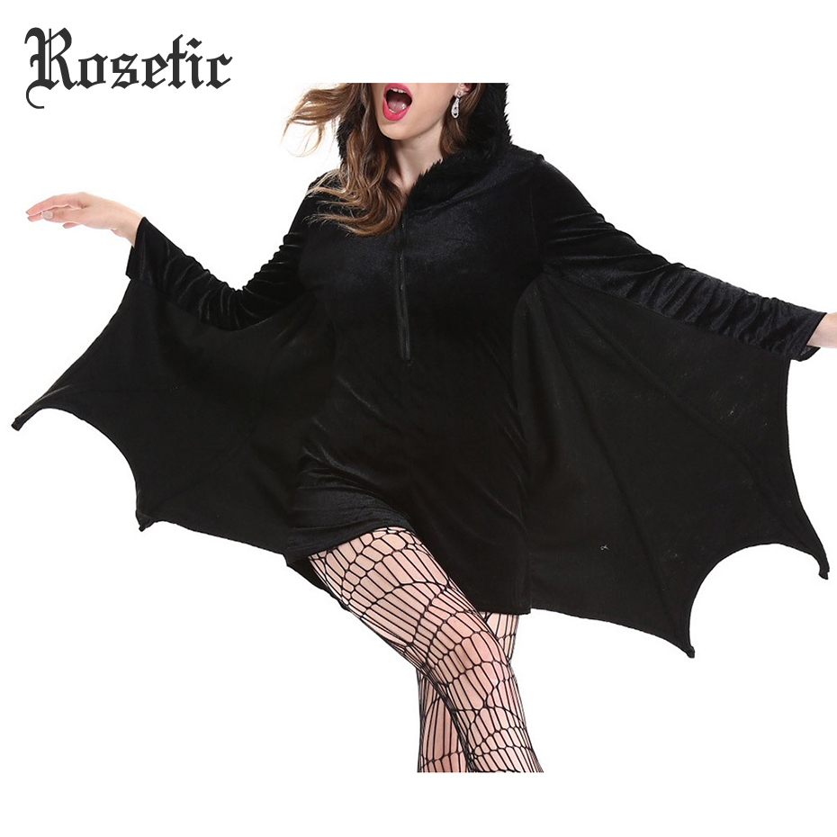 Rosetic Classic Halloween Gothic Adult Bat Costumes Funny Hollow Zipper Girls Winter Party Cosplay Vampire Black Jumpsuits