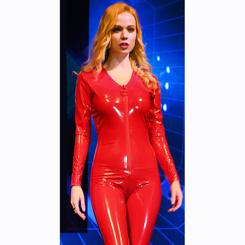 Plus Size Sexy Latex PVC Catsuit Deep V neck Big Zipper Open Long Sleeve Bodysuit Glitter