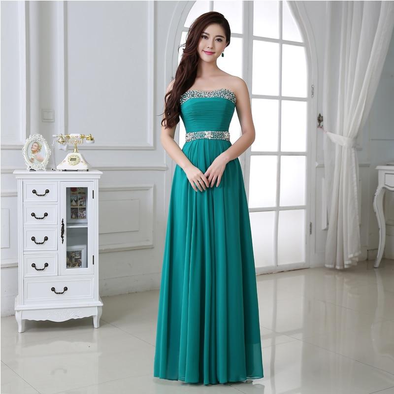 Vestidos largos color verde aqua