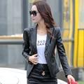 2016 Autumn New female leather short paragraph Slim machine wagon jacket leather jacket female small suit