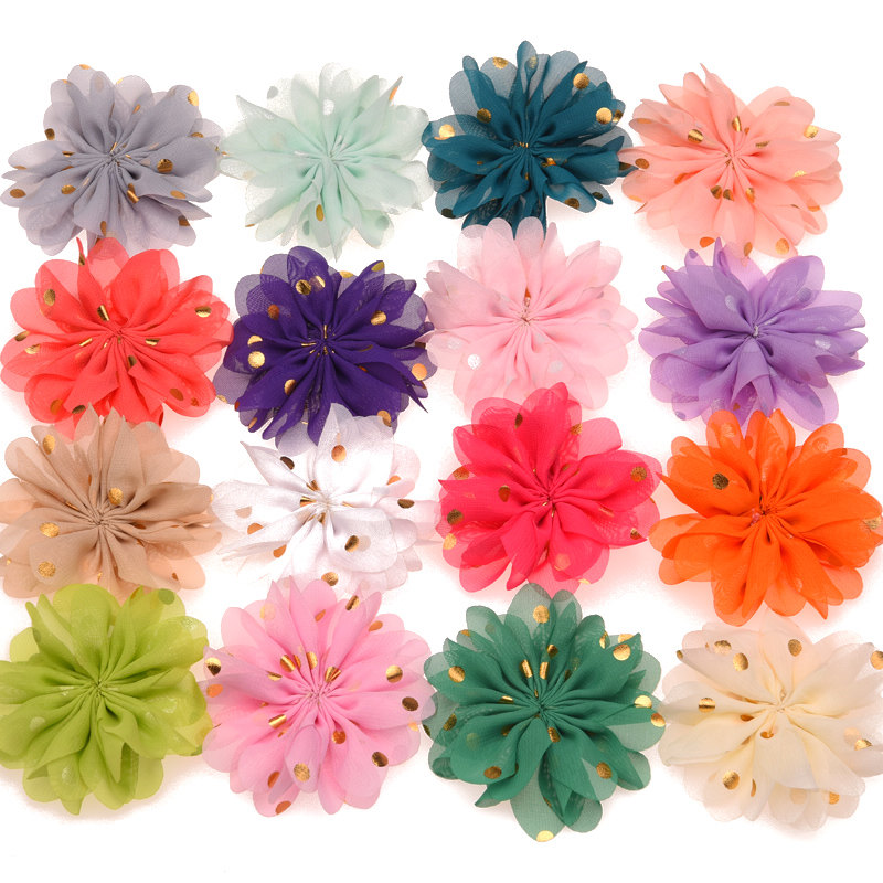 24PCS Gold Point Print Chiffon Puffy Flowers DIY Hair Flower For Hari Accessory Cheap Flowers Without Clips