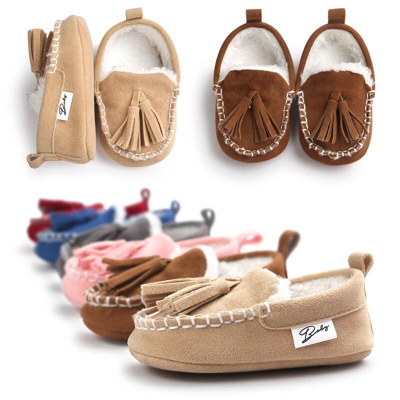 Winter Newborn Baby Super Warm Soft Bottom Anti-slip Shoes Crib Shoes New Infant Toddler Boy Kids Tassel Prewalker First Walkers