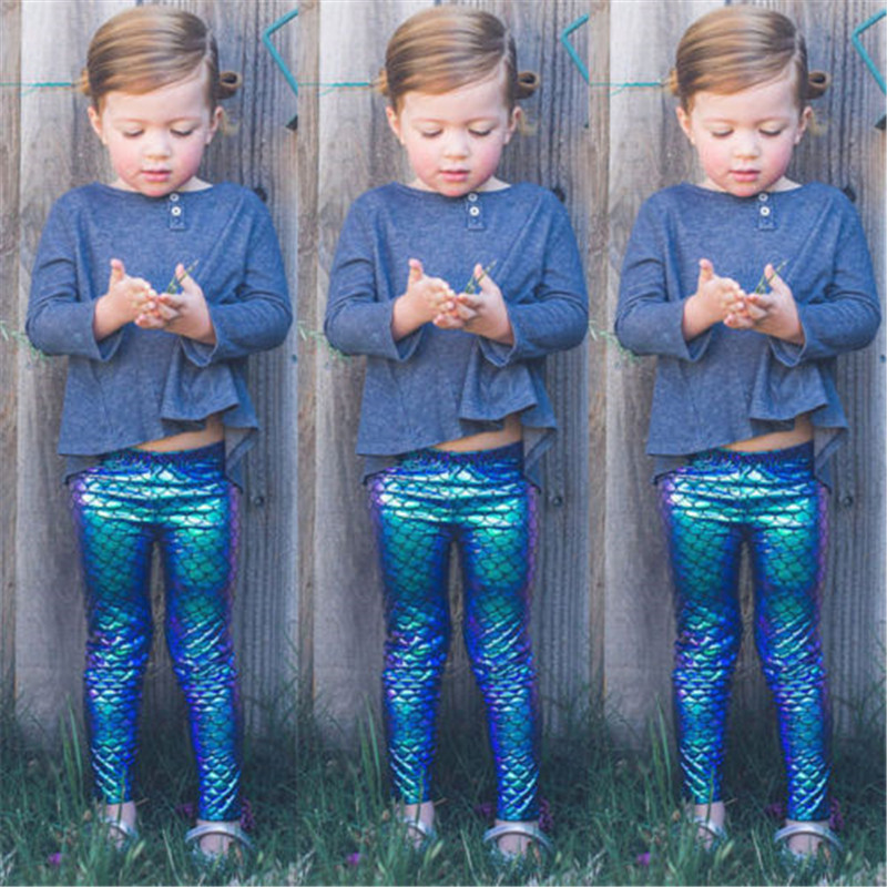 Family Matching Mother Daughter Kids Baby Girls Mermaid Fish Scale Leggings Stretchy Pencil Pants Trousers Mom Girl Clothes Mother & Kids