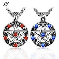 JS Men Baphomet Titanium Inverted Pentagram Pendant Satanism Pentacle Necklace Titanium Star Pewter Jewelry TN024