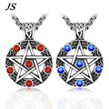 JS  Men Baphomet Titanium  Inverted Pentagram Pendant Satanism Pentacle Necklace Titanium Star Pewter Jewelry TN024