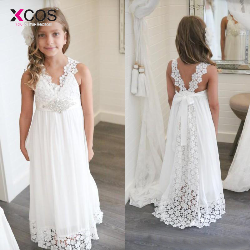 New Arrival Boho   Flower     Girl     Dresses   For Weddings Cheap V Neck Chiffon Lace Formal Beach Bohemian   Dress   Custom Made