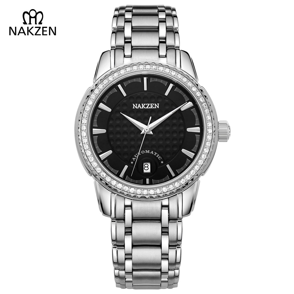 NAKZEN Men's Automatic Waterproof 50M Watch Man Steel Business Dress Mechanical Clock Male Luxury Sapphire Diamond Fashion Watch nakzen men s automatic waterproof 50m watch man steel business dress mechanical clock male luxury sapphire diamond fashion watch