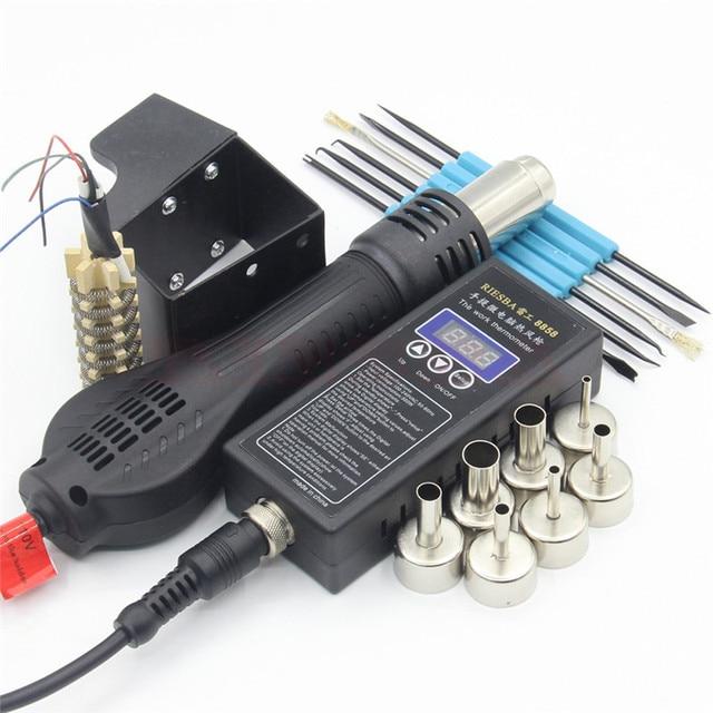 Riesba 8858 PLUG Portable BGA Rework Solder Station Hot Air Blower Heat Gun + Welding tools 1