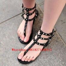 Zapatos Mujer Rivet Leather Gladiator Sandal Strappy Summer Shoes Woman Latest Stones Studded Flat Sandals Designer Flip Flops
