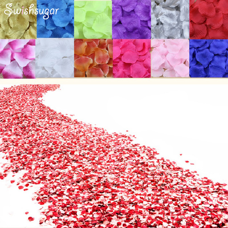 100pcs Silk Rose Petals Flower Leaves Petals Wedding Supplies Favor Party Decorations(China)