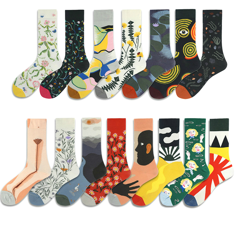 PEONFLY Combed Cotton Women's Socks Harajuku Colorful Cartoon Cute Funny Kawaii Abstract Pattern Socks For Female Christmas Gift