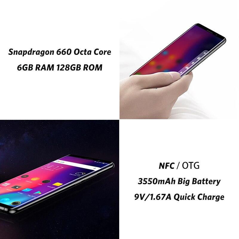 Elephone U Pro 5,99 ''6 ГБ + 128 ГБ мобильный телефон Android 8,0 Snapdragon 660 Octa Core 13MP Face ID сканер отпечатков пальцев NFC 4G LTE смартфон