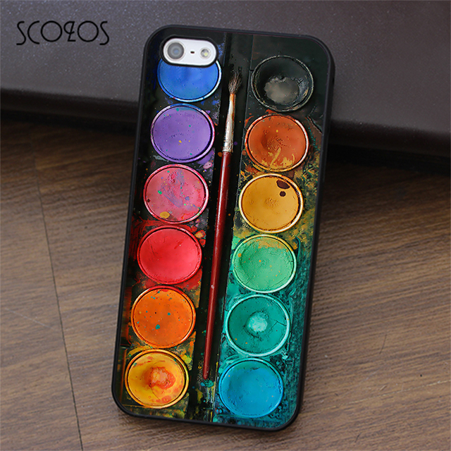 reputable site 43cdf 2ffd7 US $4.39 12% OFF|SCOZOS Watercolour Painting Palette Colouring Pencil case  for iphone X 4 4s 5 5s Se 5C 6 6s 7 8 6&6s plus 7 plus 8 plus #ea29-in ...