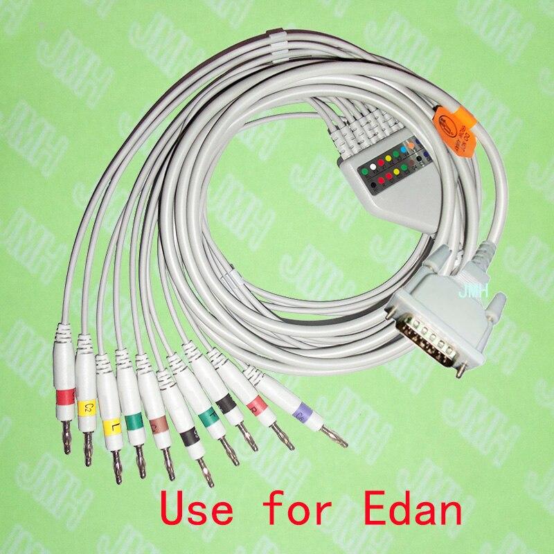 Compatible avec la Machine EKG EDAN SE-1/SE-3/SE-601A, le câble ECG 10 fils monobloc et 4.0 fils banane, IEC ou AHA.