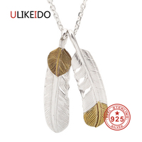 925 Sterling Silver Jewelry Pendant Necklaces Feather Charm Punk Link Thai Silver Eagle Chain For Men And Women Fine Gift 2009