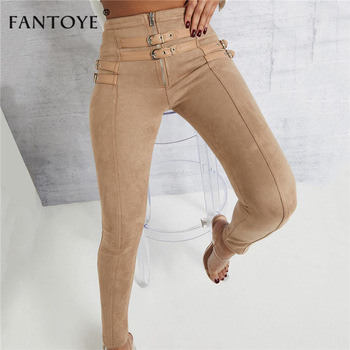 Fantoye Women Casual Bodycon Bandage Suede Pants 2019 Classic Basic Khaki Trousers Ladies Pencil Pants Elastic Women's Pants