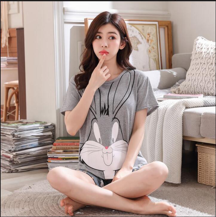 2019 Newset WAVMIT Pajamas Set For Women Summer Short Sleeve Cartoon Cute Sleepwear Girl Pijamas Mujer Nightgown Women Gift