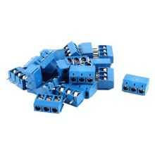 Brand New 20 pieces 3 pin 5 mm pitch PCB screw Terminal Block 300V 16A AWG14-22 blue color стоимость