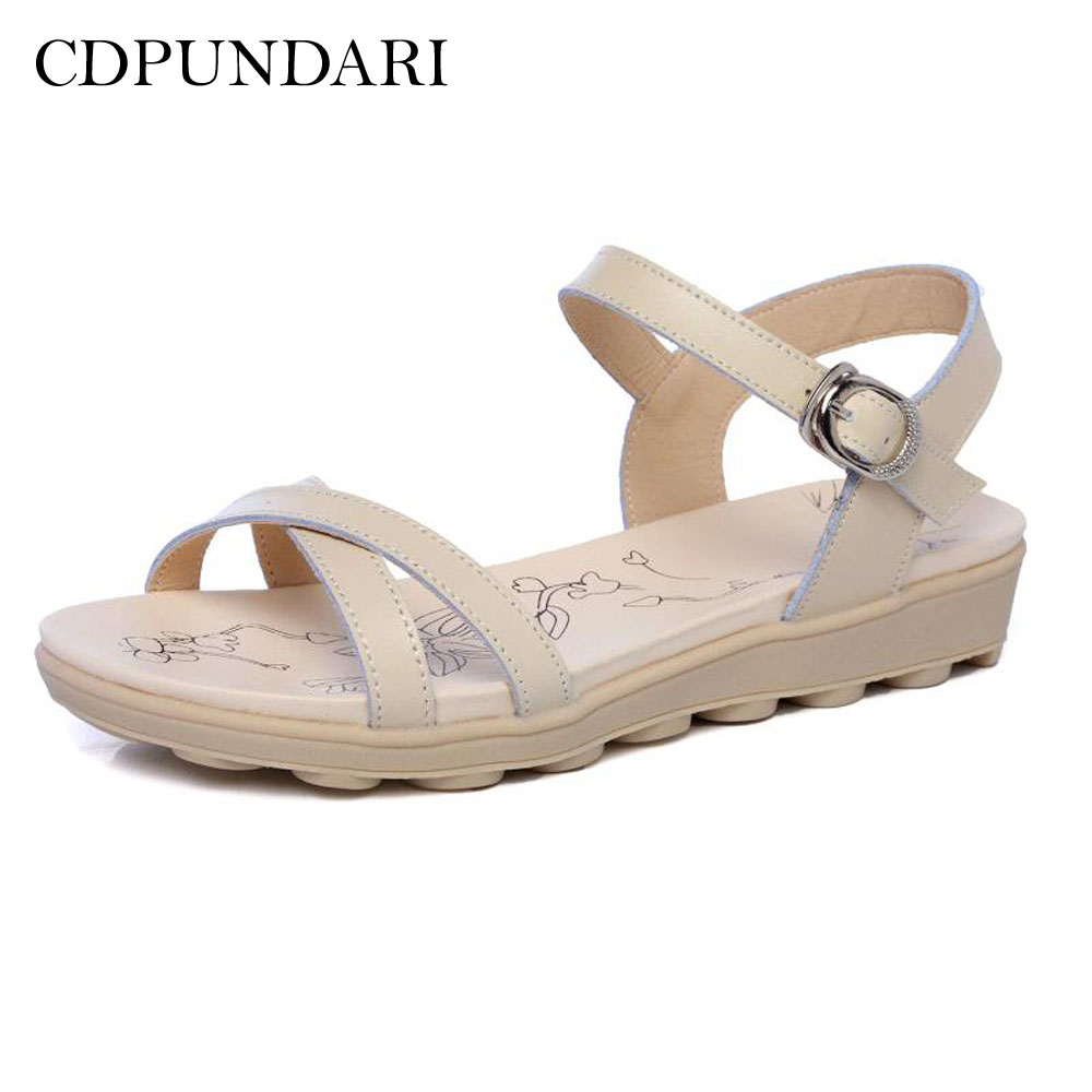 CDPUNDARI 2018 Genuine Leather Sandals Women Platform Sandals Ladies summer shoes woman цена