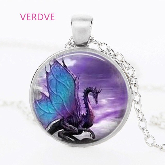 Dragon necklace glass vial dragon claws blue green stone chips dangle necklace silver dragon black wings