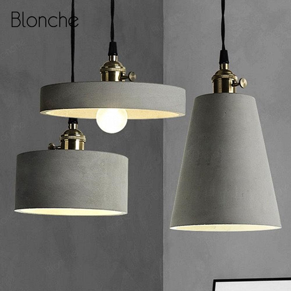 Loft Cement Pendant Lights Retro Industrial Pendant Lamp For Bar Restaurant Cafe Decor Hang Lamp Modern LED Lighting Fixtures