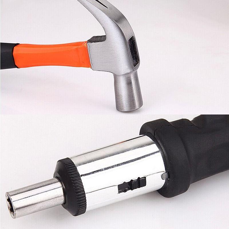 102 PCS Elektrische Hand Tool Set Doos Algemene Huishoudelijke Reparatie Tool Kit met Plastic Toolbox Opslag Case Dopsleutel Schroevendraaier - 5