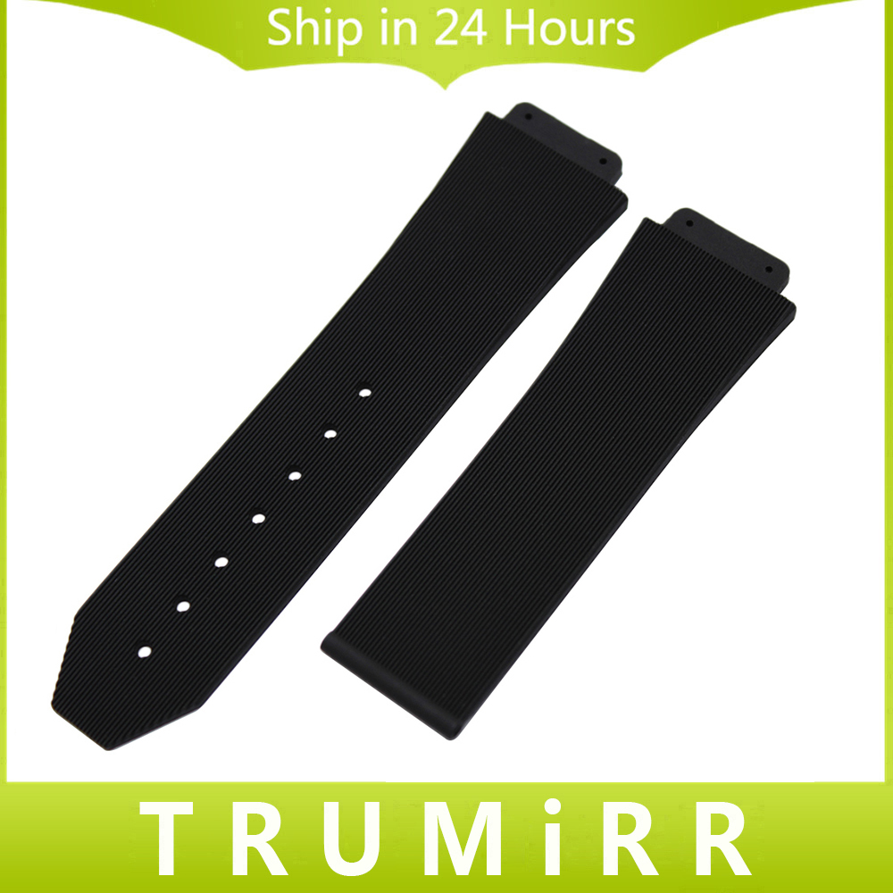 26mm x 19mm Convex Watchband Silicone Rubber Strap for HUB Replacement Watch Band Steel Buckle Belt Resin Wrist Bracelet Black black silicone rubber watchband for sgw 100 replacement watch band sports waterproof resin strap steel buckle wrist bracelet