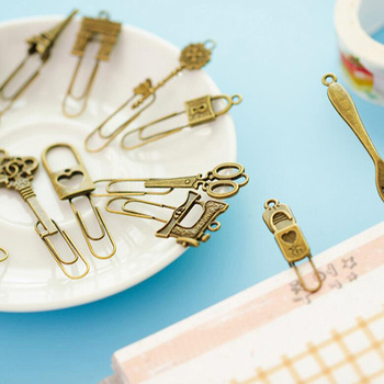 10 Piece/lot Cute Metal Bookmark Vintage Key Bookmarks Paper Clip For Book Stationery Free Shipping School Office Book Marks 1