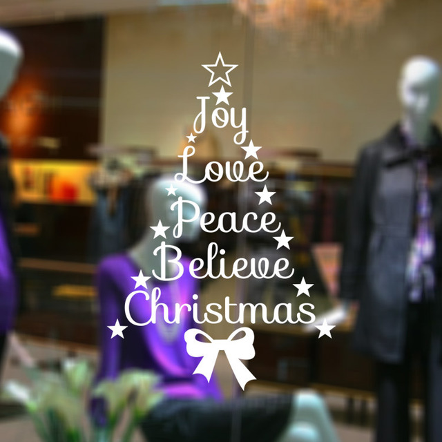 Joy Love Peace Believe Christmas Quotes Stars Wall Decal Merry Christmas  Tree Wall Sticker Vinyl Murals