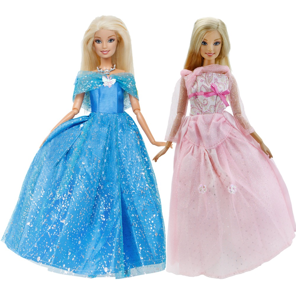 2 Pcs / Lot Handmade Doll Dress Copy Cinderella Princess Gown Blue Pink Long Skirt Clothes For Barbie Doll Accessories Kids Toy